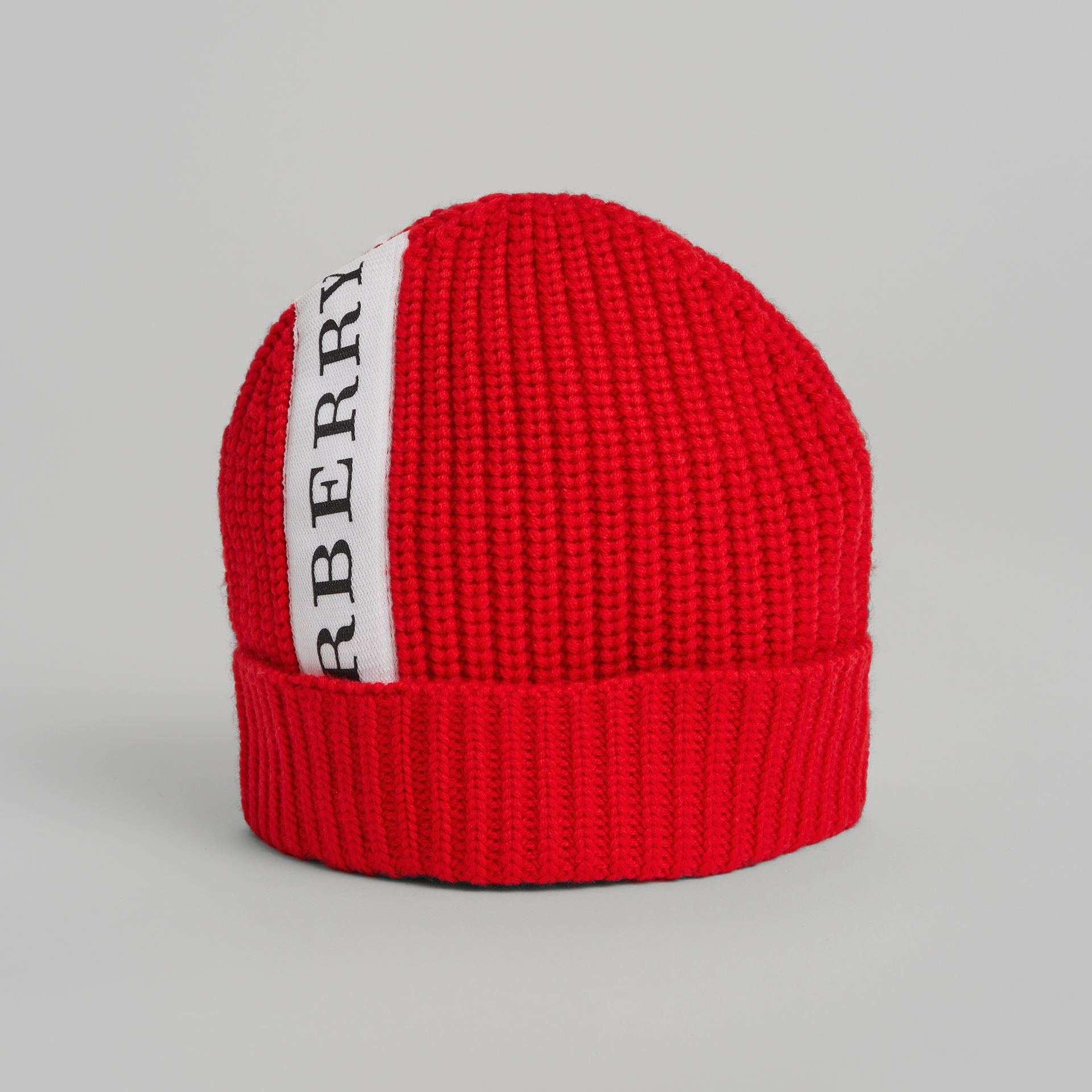 Logo Stripe Wool Turnback Beanie in Red | Burberry - gallery image 0