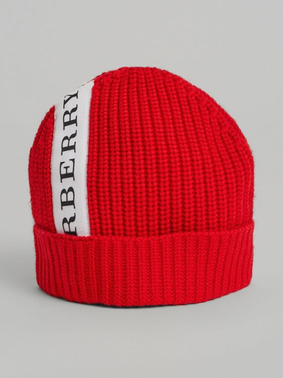 Logo Stripe Wool Turnback Beanie in Red