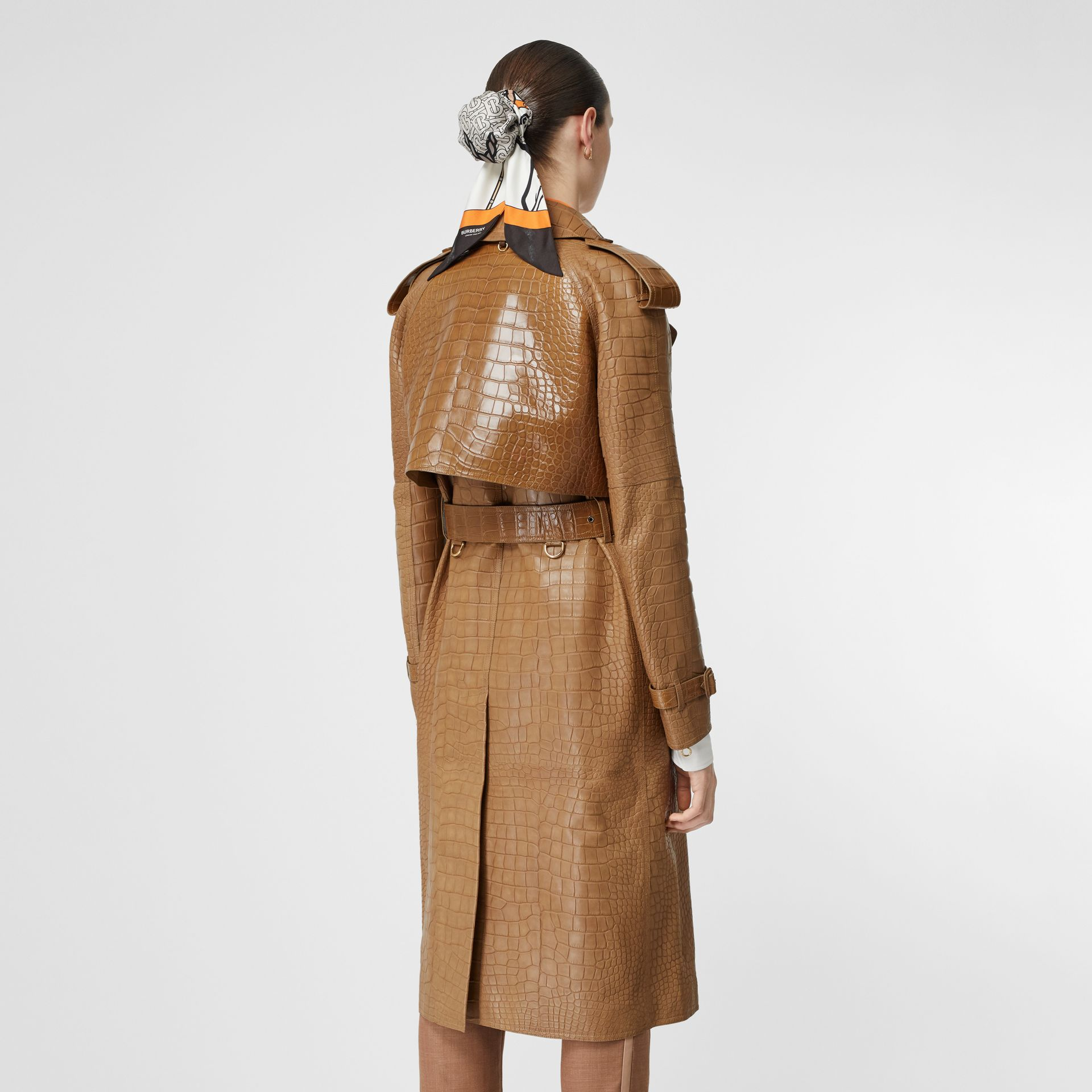Alligator Trench Coat in Flaxseed - Women | Burberry - gallery image 2
