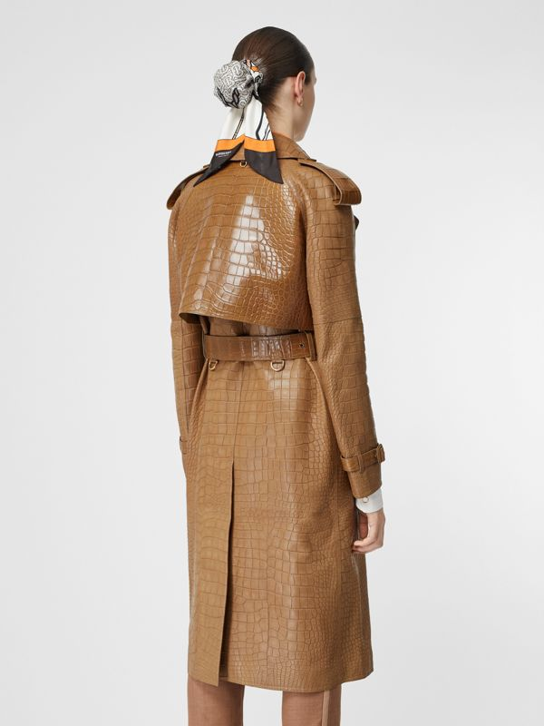 Alligator Trench Coat in Flaxseed - Women | Burberry - cell image 2
