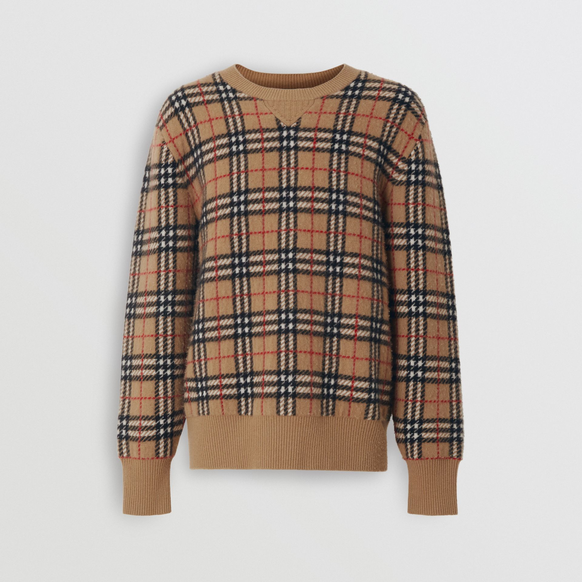 Vintage Check Cashmere Jacquard Sweater in Camel - Men | Burberry United States - gallery image 3