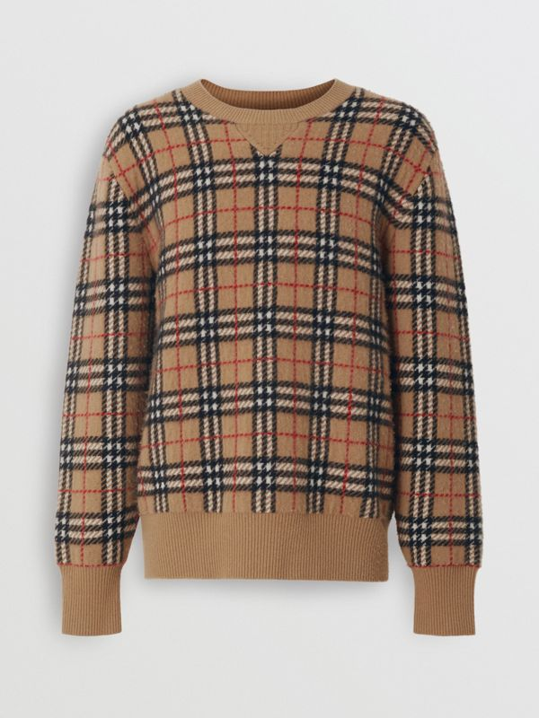 Vintage Check Cashmere Jacquard Sweater in Camel - Men | Burberry - cell image 3