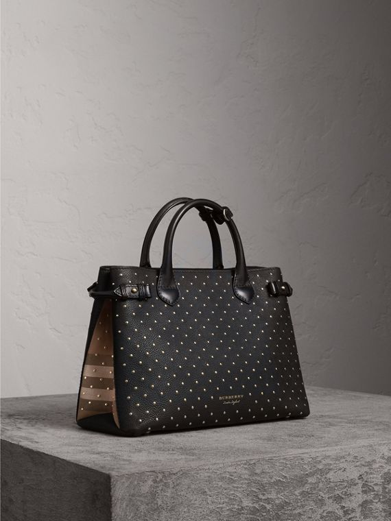 Sac The Banner medium en cuir à rivets et coton House check (Noir) - Femme | Burberry