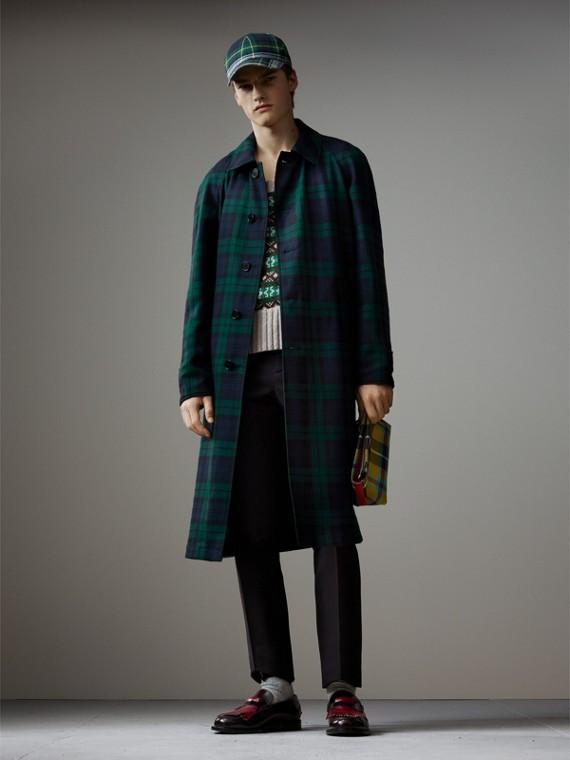 Укороченное пальто из габардина и шерсти в шотландскую клетку (Темно-синий)