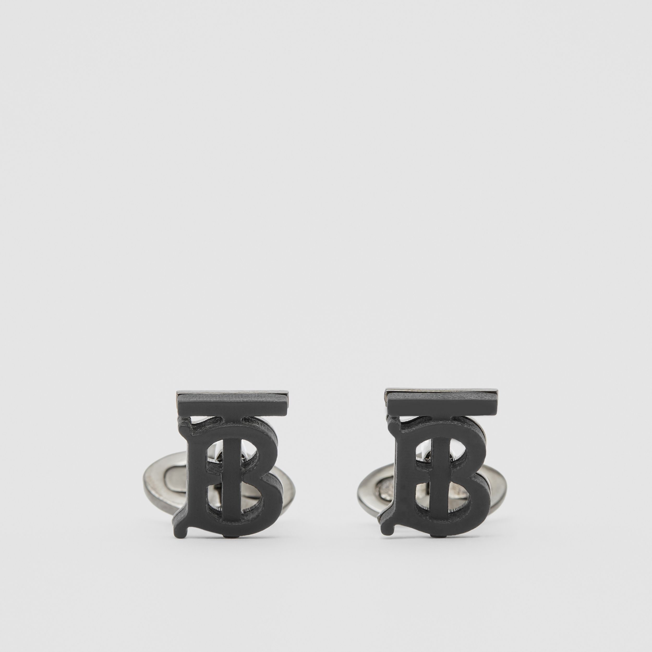 Monogram Motif Resin and Palladium-plated Cufflinks in Matte Black - Men | Burberry - 1