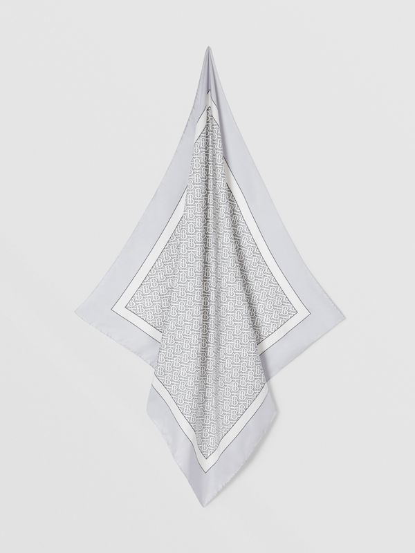 Monogram Print Silk Square Scarf in Light Pebble Grey | Burberry Australia - cell image 3
