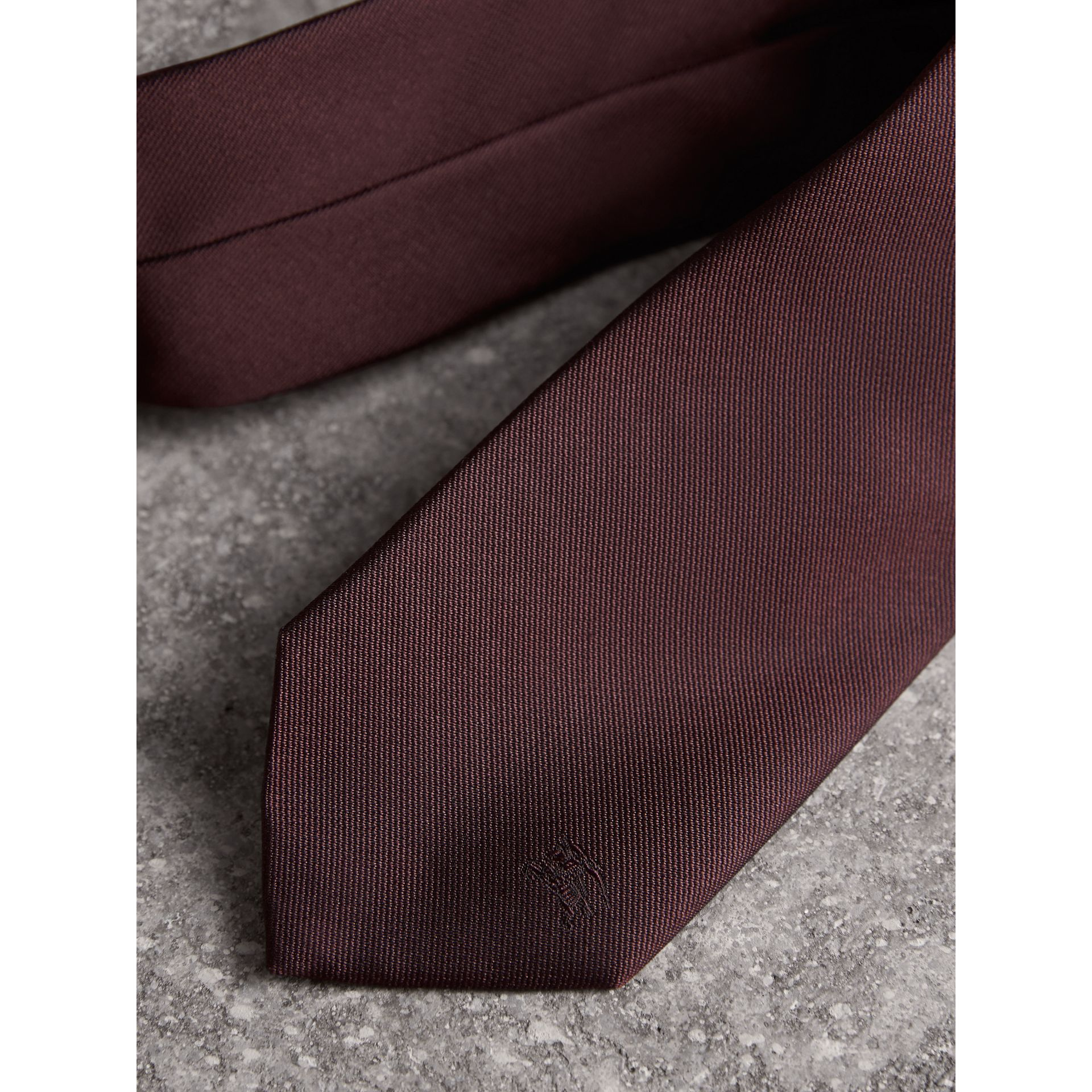 Modern Cut Silk Twill Tie in Deep Claret - Men | Burberry United Kingdom - gallery image 2