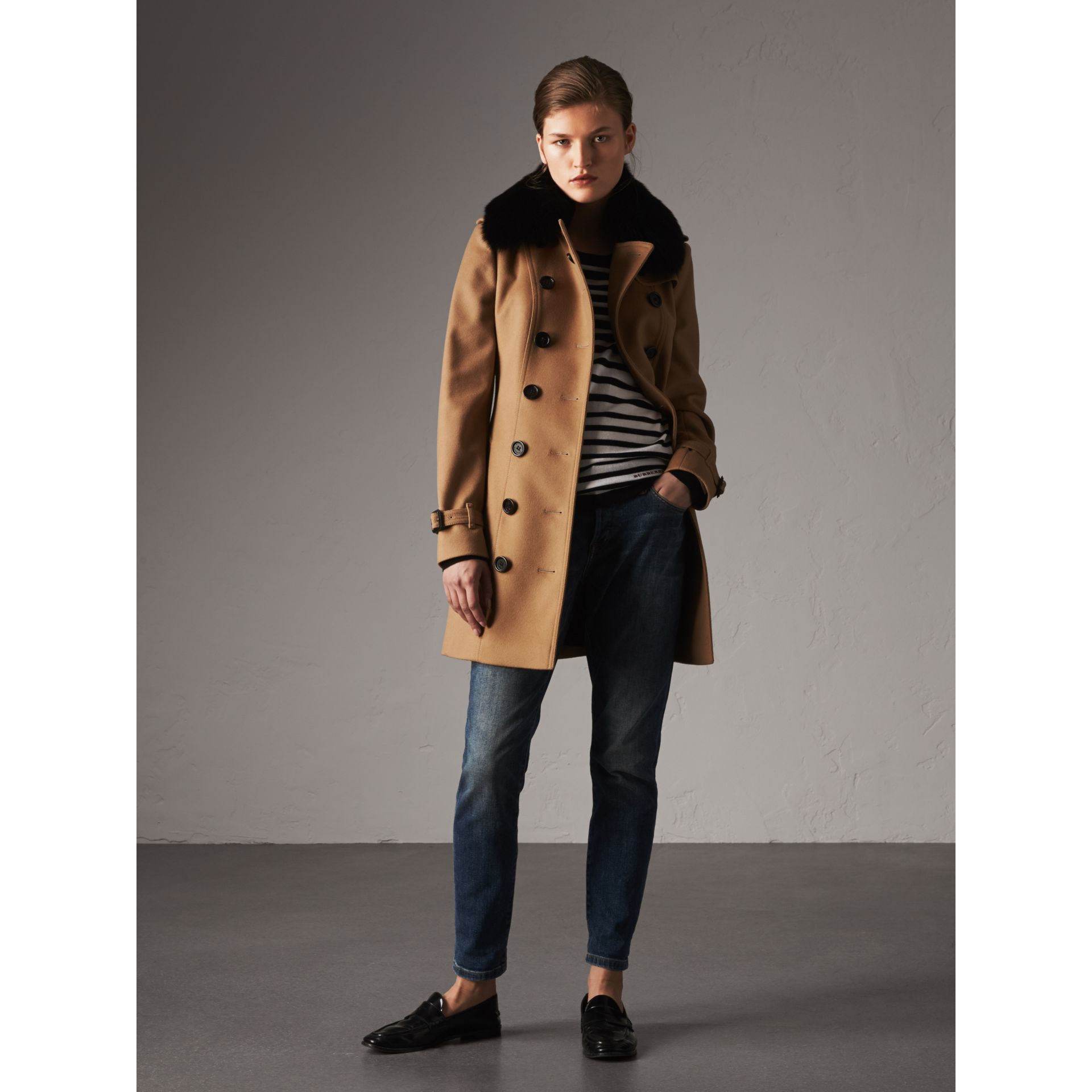 Wool Cashmere Trench Coat with Fur Collar in Camel - Women | Burberry United Kingdom - gallery image 5