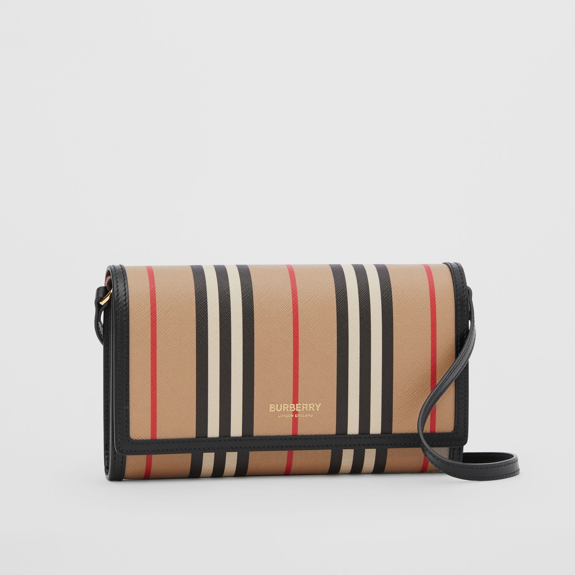 Icon Stripe E-canvas Wallet with Detachable Strap in Archive Beige - Women | Burberry - gallery image 6