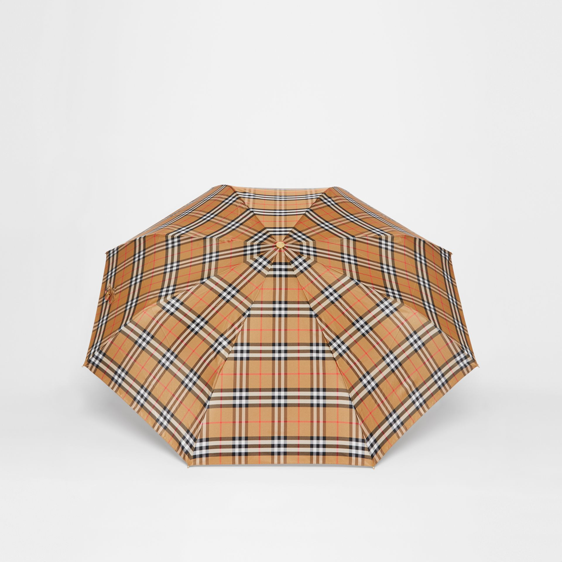 Vintage Check Folding Umbrella in Antique Yellow | Burberry United States - gallery image 4