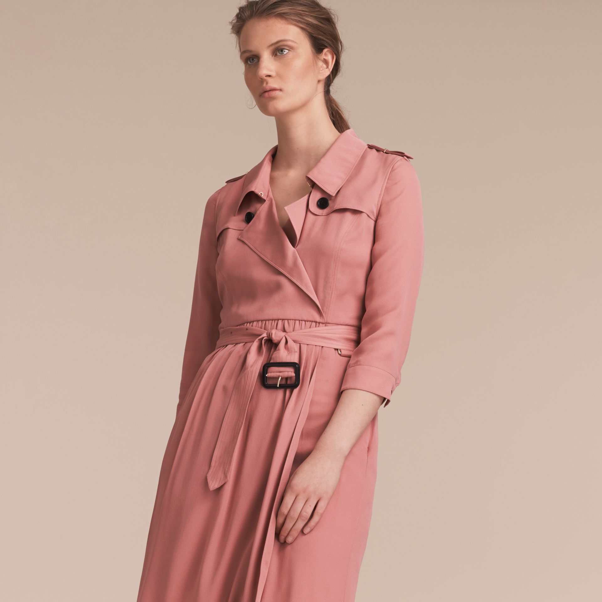 Silk Wrap Trench Dress in Light Copper Pink - gallery image 6