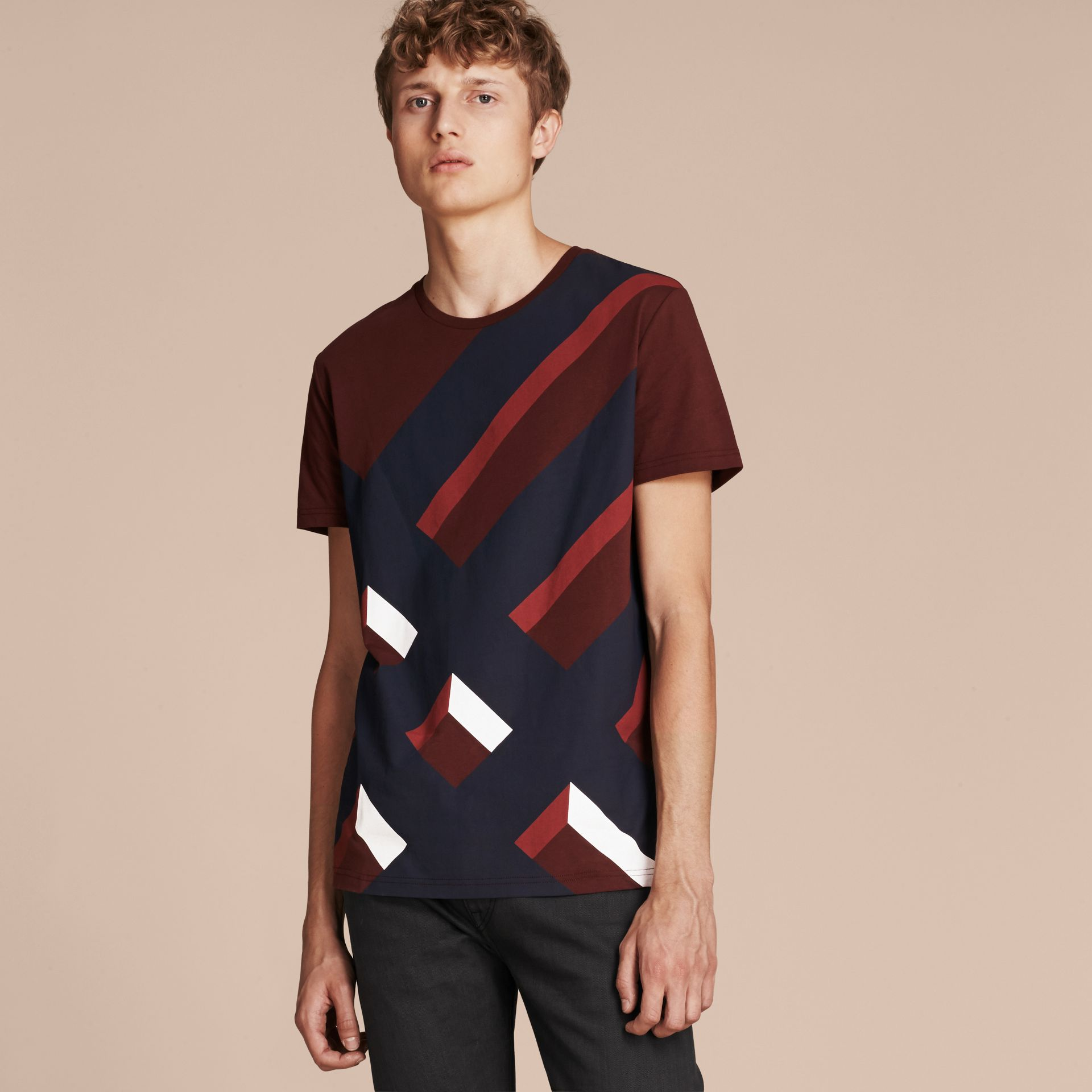 Abstract Check Print Cotton T-shirt Deep Claret - gallery image 6