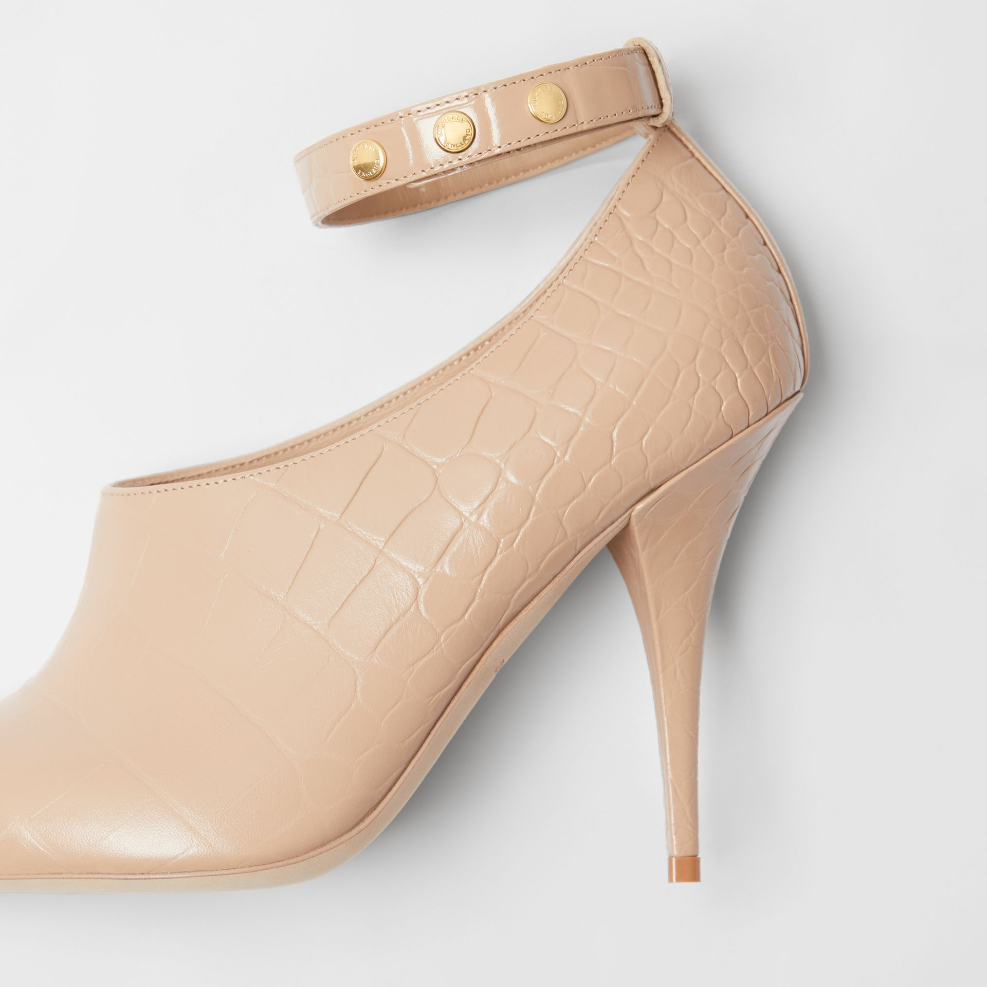 Embossed Leather Peep-toe Pumps in Driftwood - Women | Burberry - gallery image 1