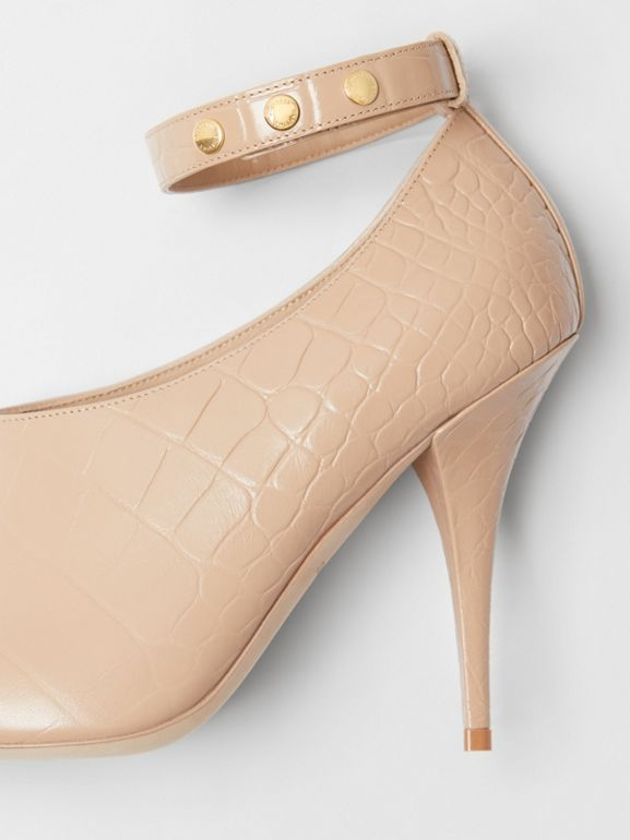 Embossed Leather Peep-toe Pumps in Driftwood - Women | Burberry - cell image 1