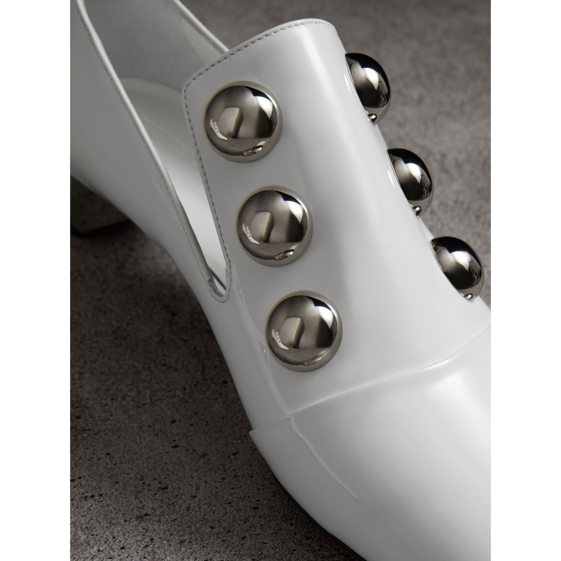 Stud Detail Patent Leather Pumps in Off White - Women | Burberry Australia - gallery image 1