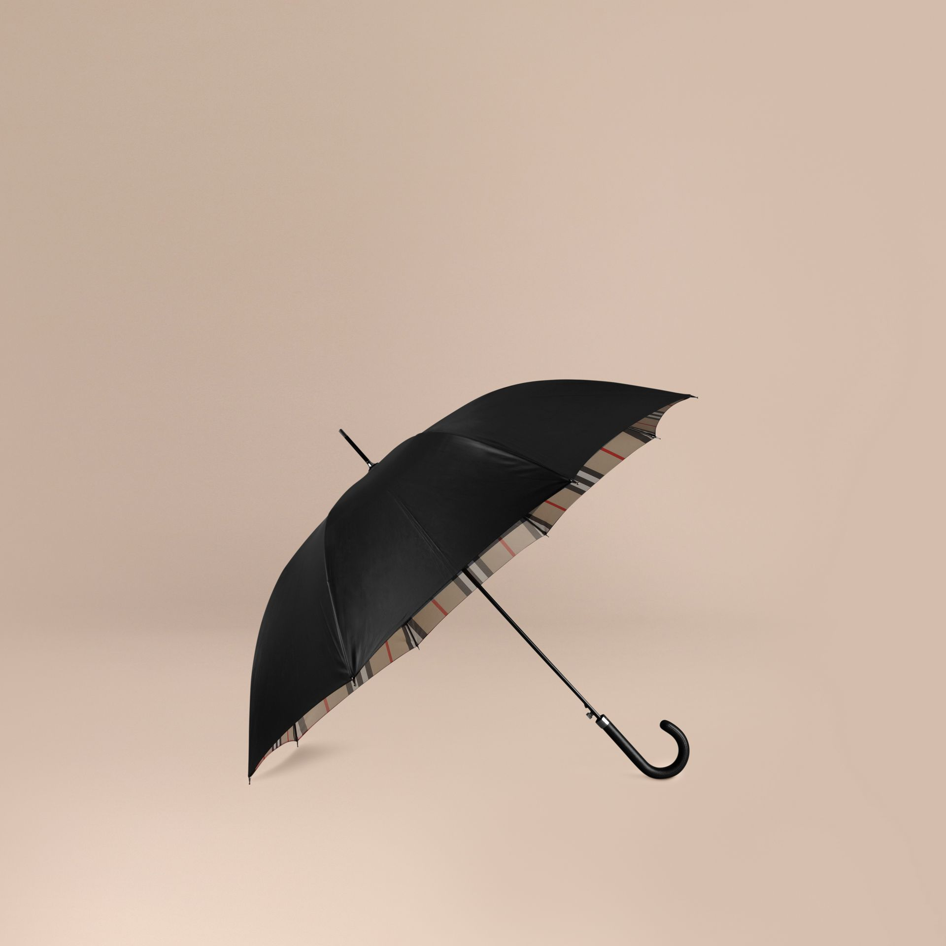 Oversize-Check Lined Walking Umbrella in Black Camel | Burberry - gallery image 1