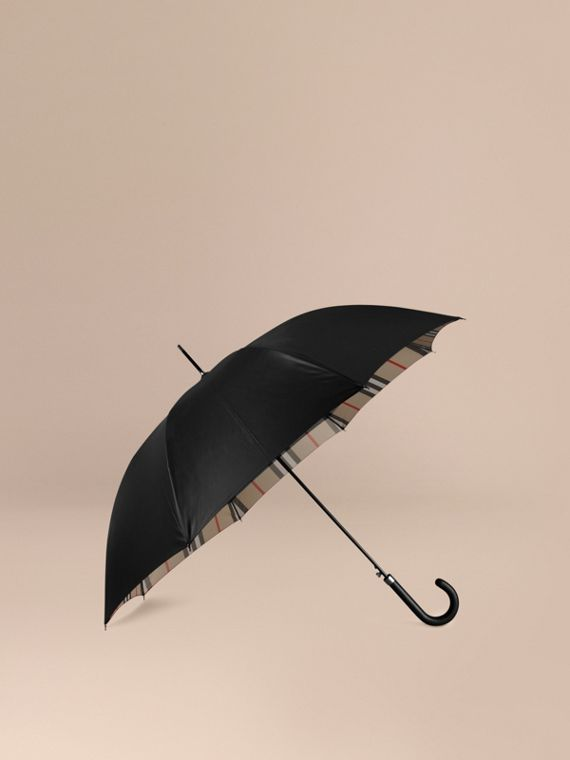 Oversize-Check Lined Walking Umbrella in Black Camel