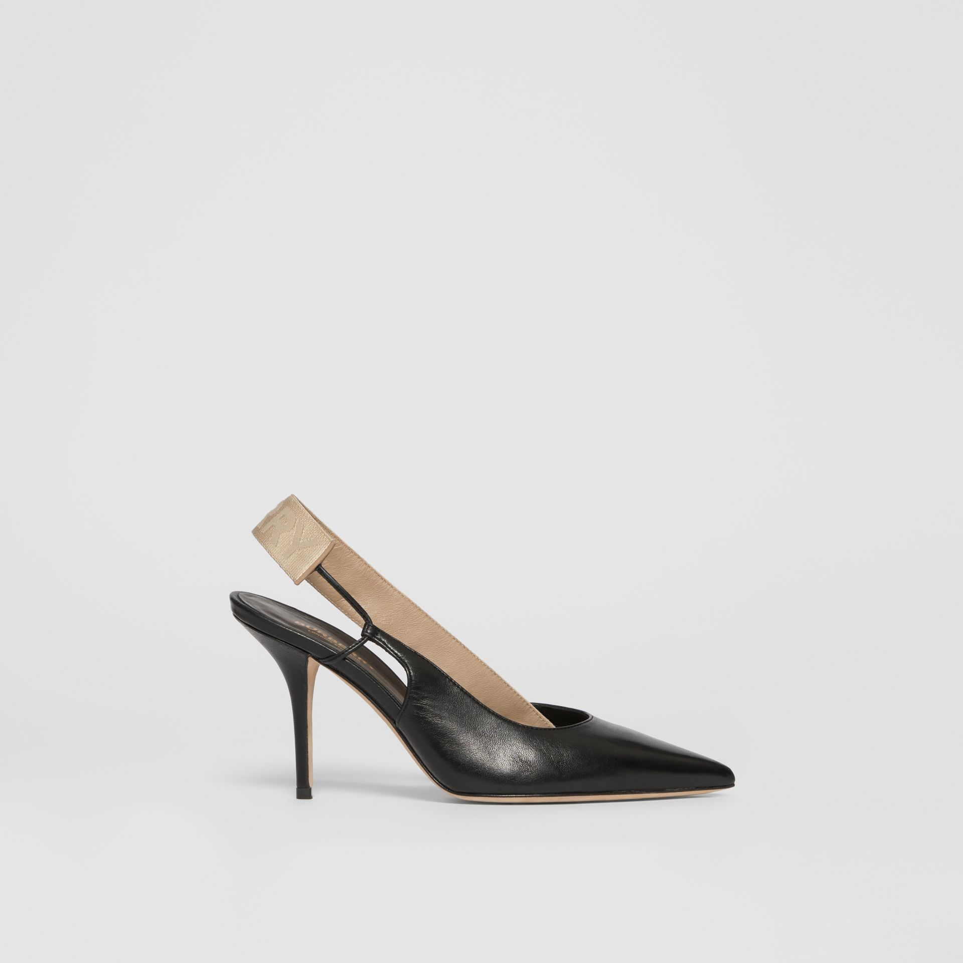 Logo Detail Lambskin Slingback Pumps in Black - Women | Burberry - gallery image 4