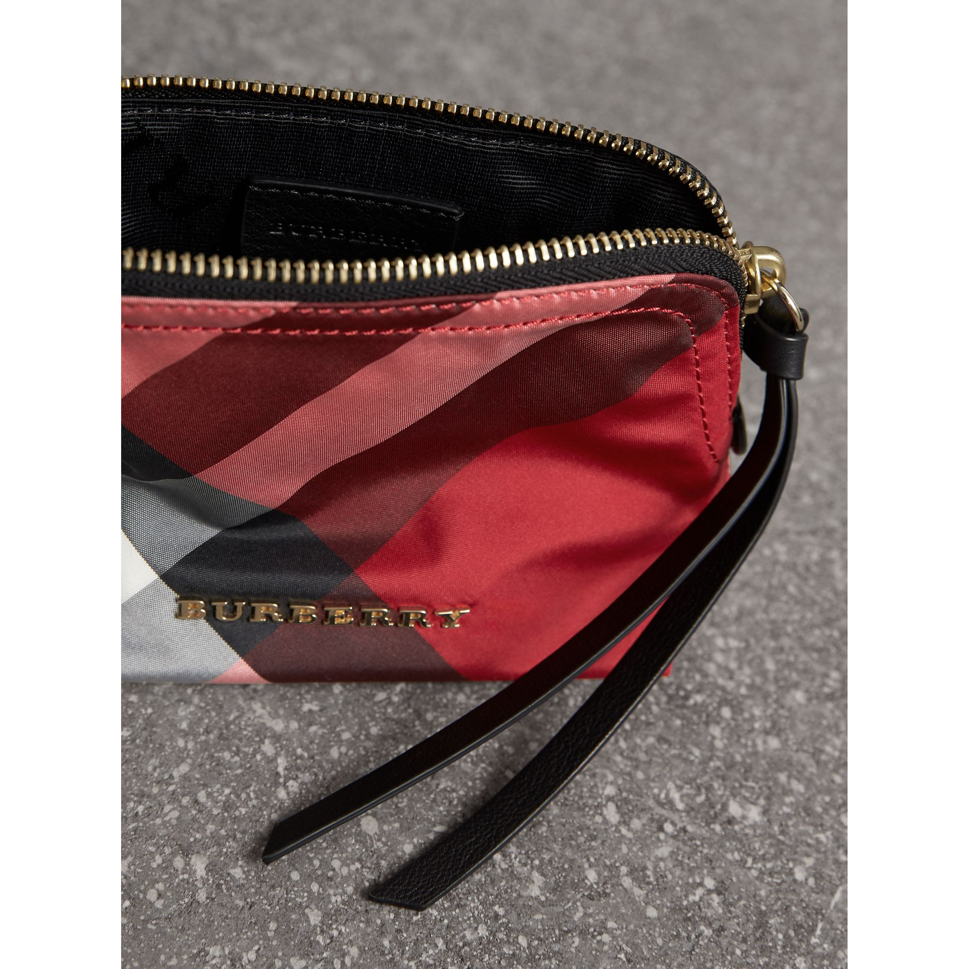 Small Zip-top Check Pouch in Parade Red - Women | Burberry - gallery image 4