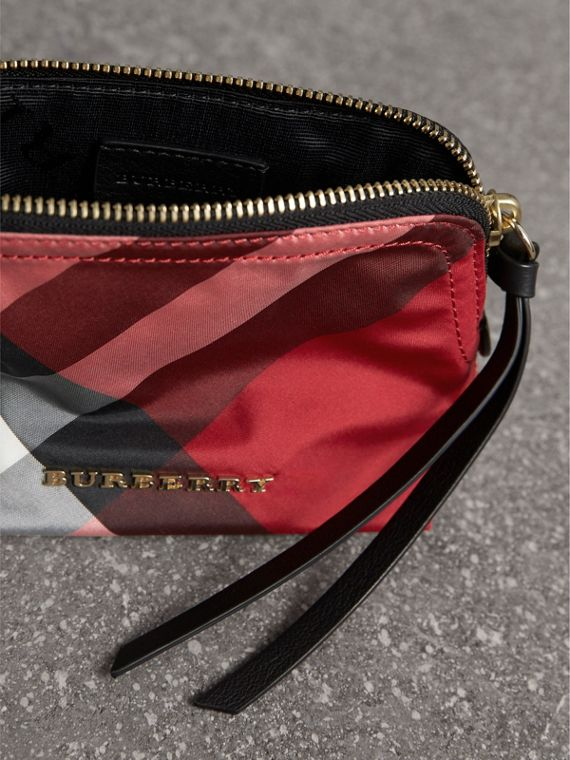 Small Zip-top Check Pouch in Parade Red - Women | Burberry - cell image 3