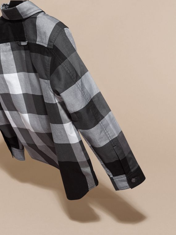 Black Check Cotton Shirt Black - cell image 3