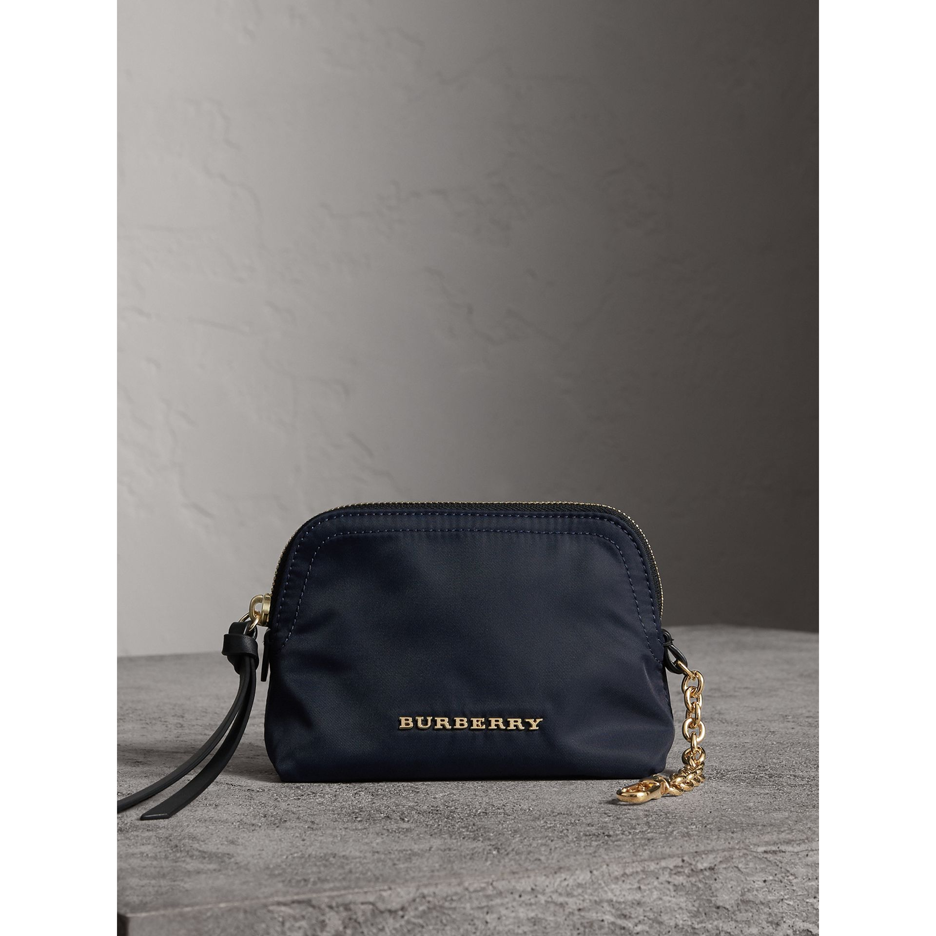Small Zip-top Technical Nylon Pouch in Ink Blue - Women | Burberry Canada - gallery image 1