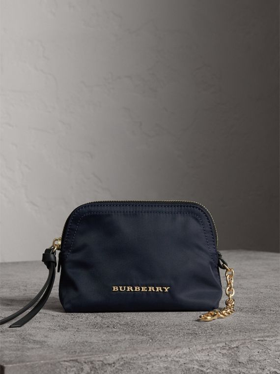 Small Zip-top Technical Nylon Pouch in Ink Blue - Women | Burberry