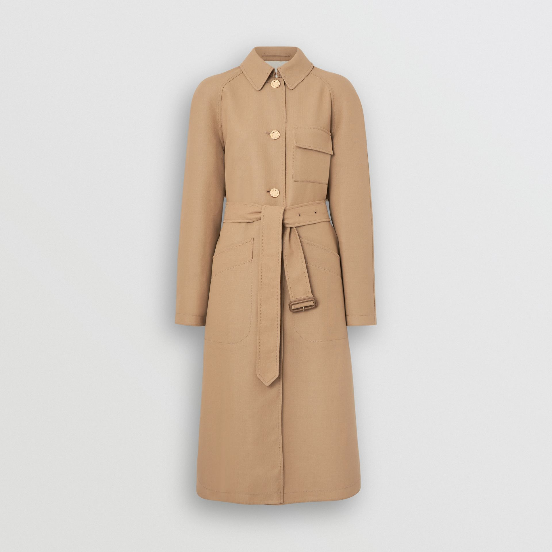 Double-faced Cotton Canvas Car Coat in Honey/white - Women | Burberry United Kingdom - gallery image 3