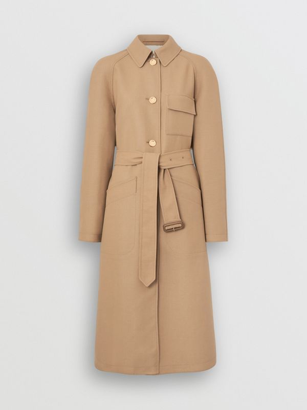 Double-faced Cotton Canvas Car Coat in Honey/white - Women | Burberry - cell image 3