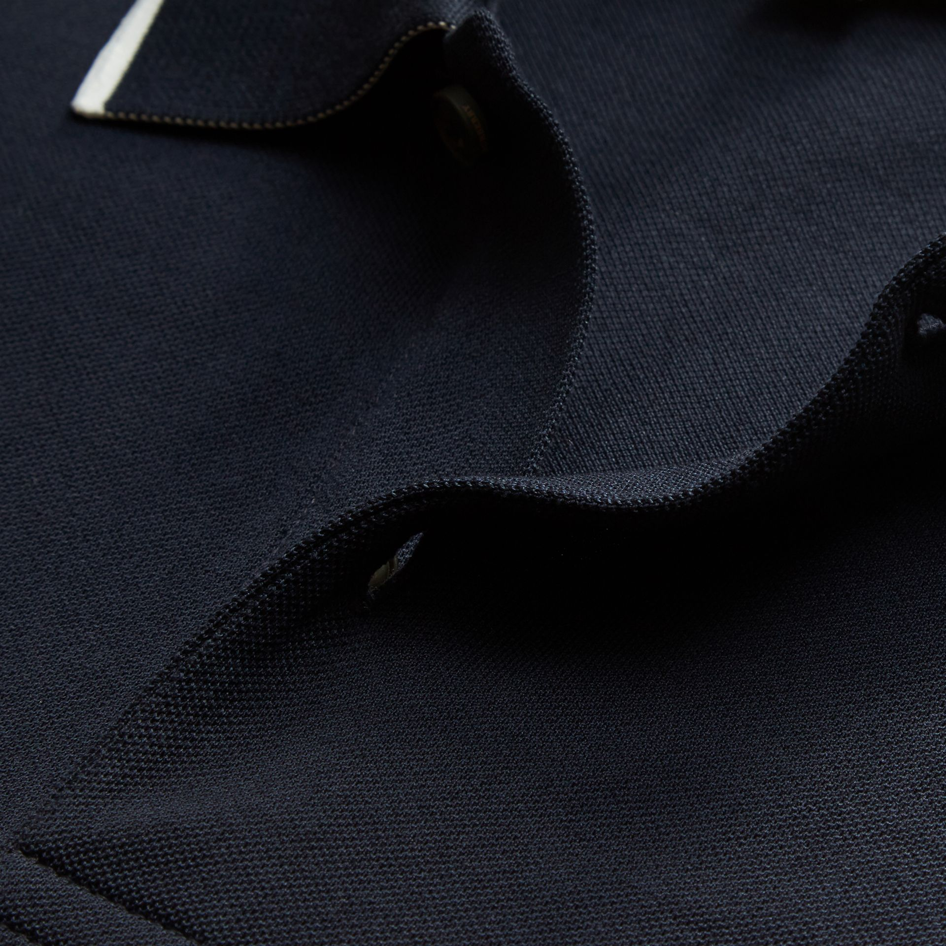 Tipped Collar Cotton Piqué Polo Shirt in Navy - Men | Burberry - gallery image 2