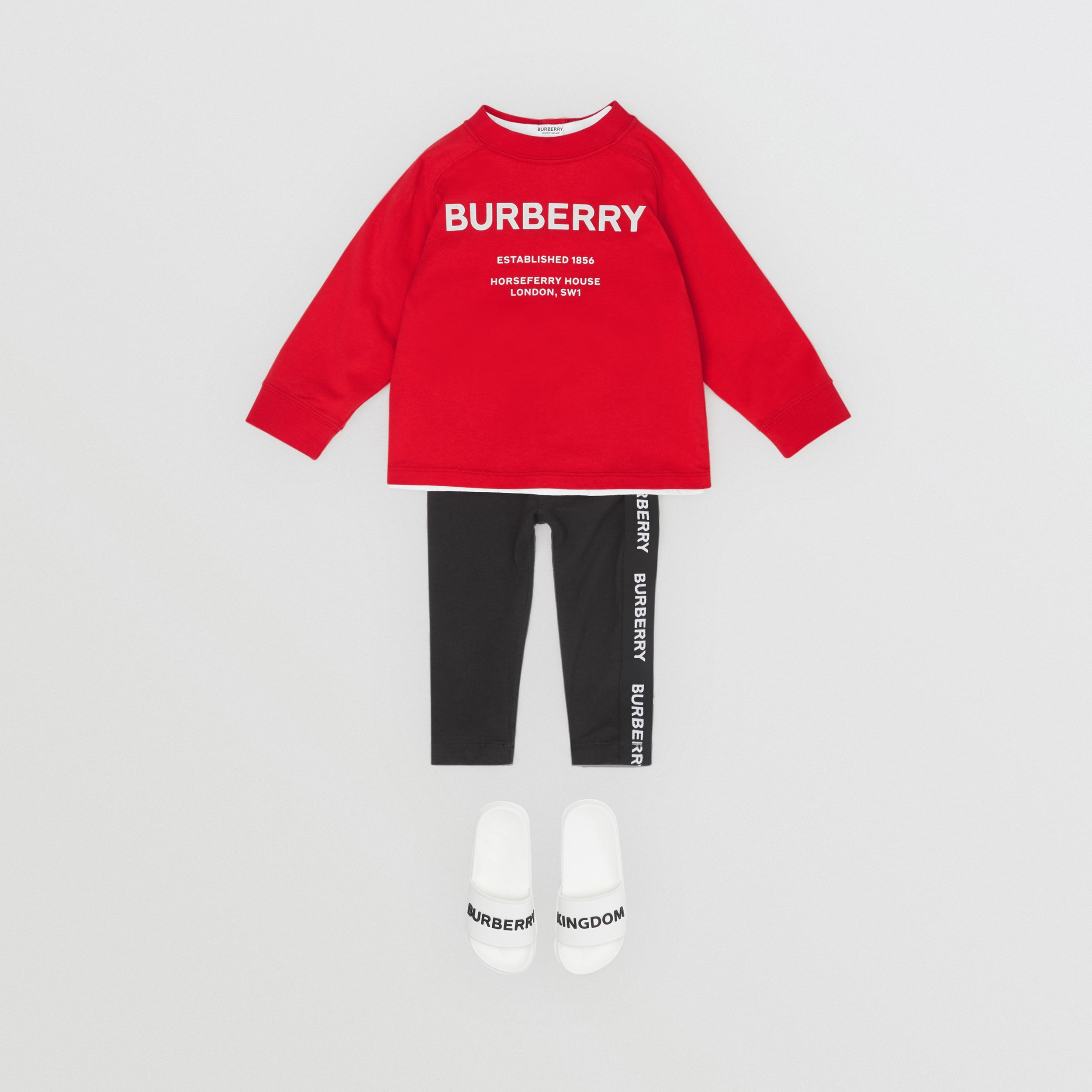 Long-sleeve Horseferry Print Cotton Top in Bright Red - Children | Burberry - 3