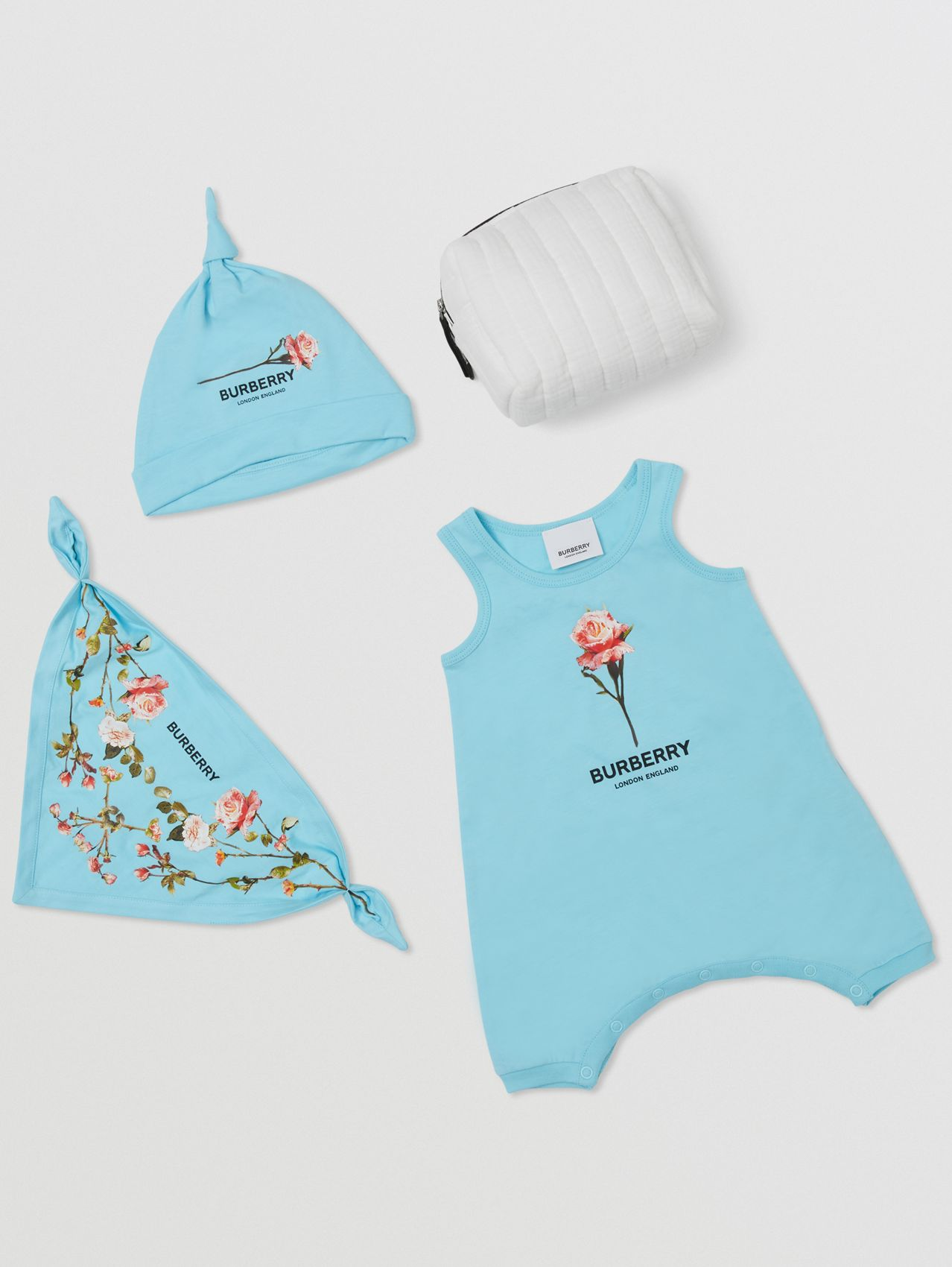 Rose Print Cotton Three-piece Baby Gift Set in Pale Turquoise