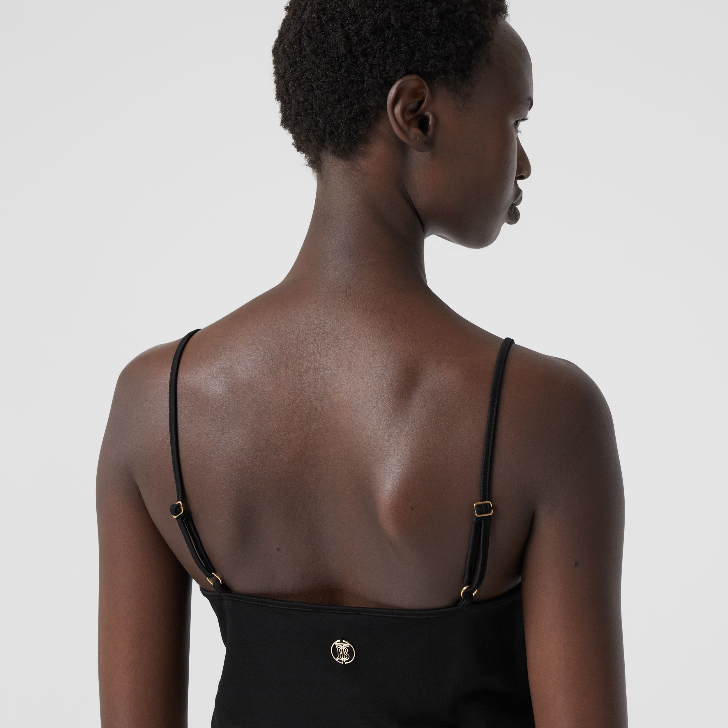 Monogram Motif Stretch Jersey Camisole in Black - Women | Burberry - 2