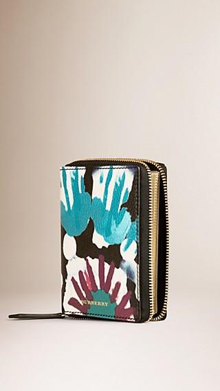 Ziparound Tie-dye Print Grainy Leather Mini Notebook