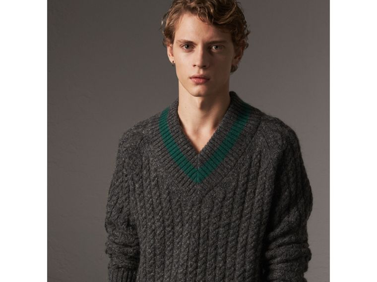 Cashmere Blend Cricket Sweater in Charcoal - Men | Burberry Australia - cell image 4