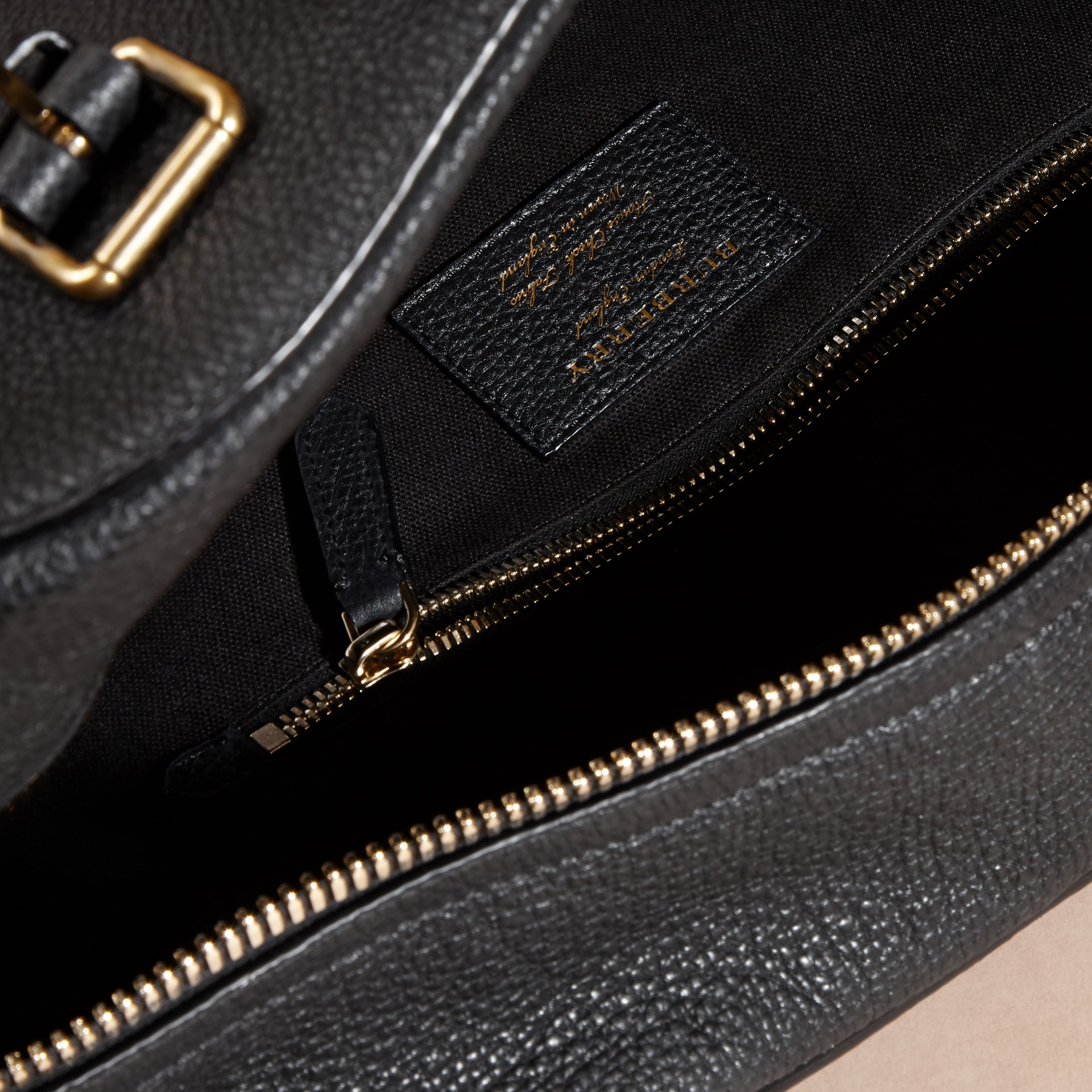 Black Leather Holdall with House Check Detail - gallery image 5