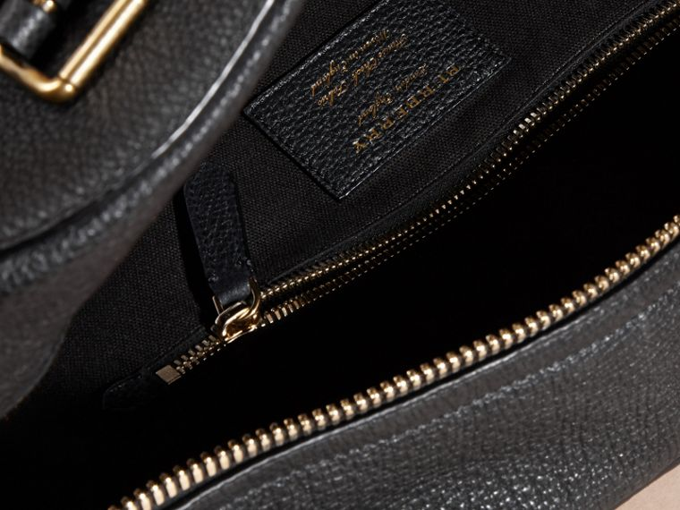 Black Leather Holdall with House Check Detail - cell image 4