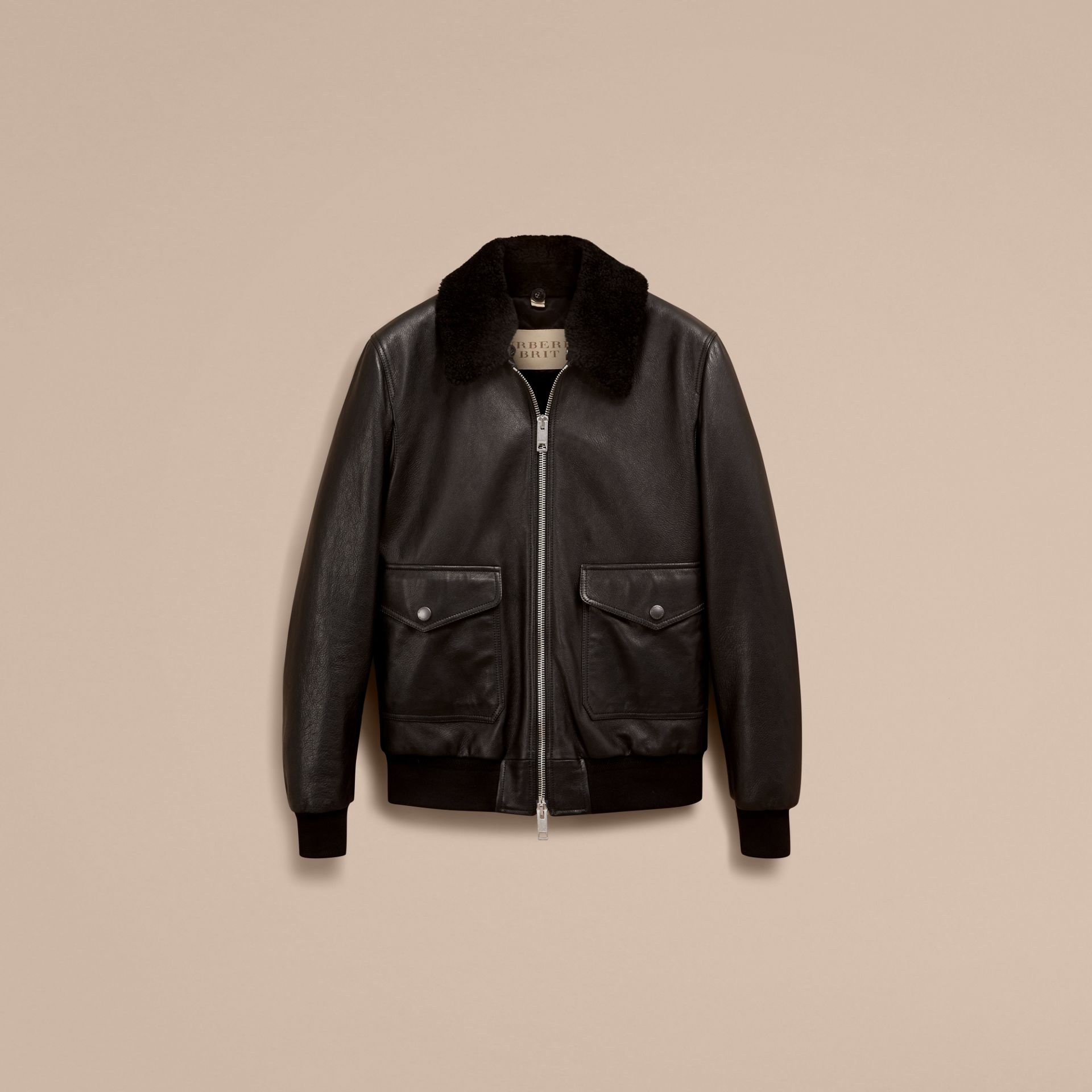 Black Leather Jacket with Detachable Shearling Collar - gallery image 4