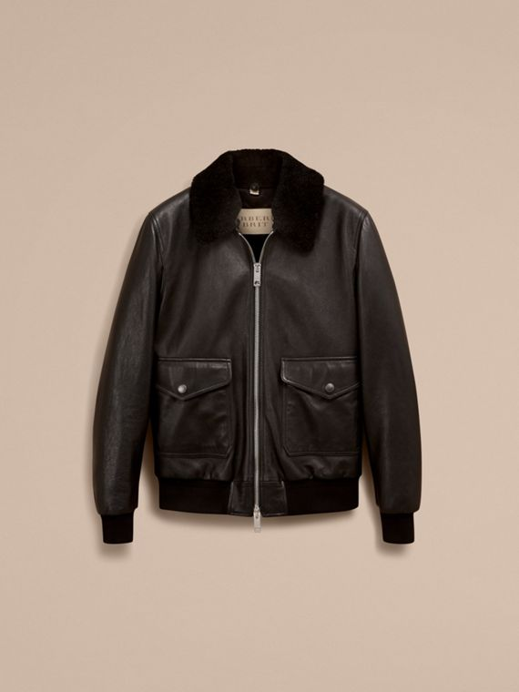 Black Leather Jacket with Detachable Shearling Collar - cell image 3