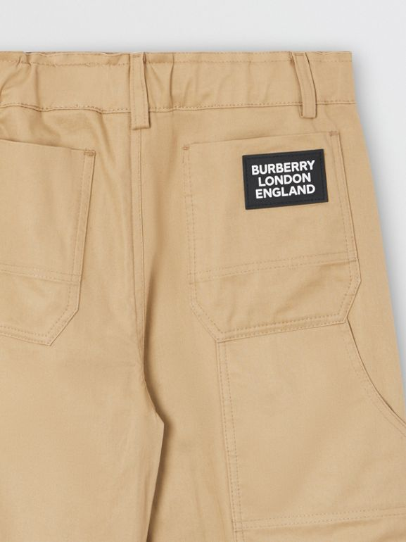 Logo Detail Cotton Twill Trousers in Honey | Burberry - cell image 1