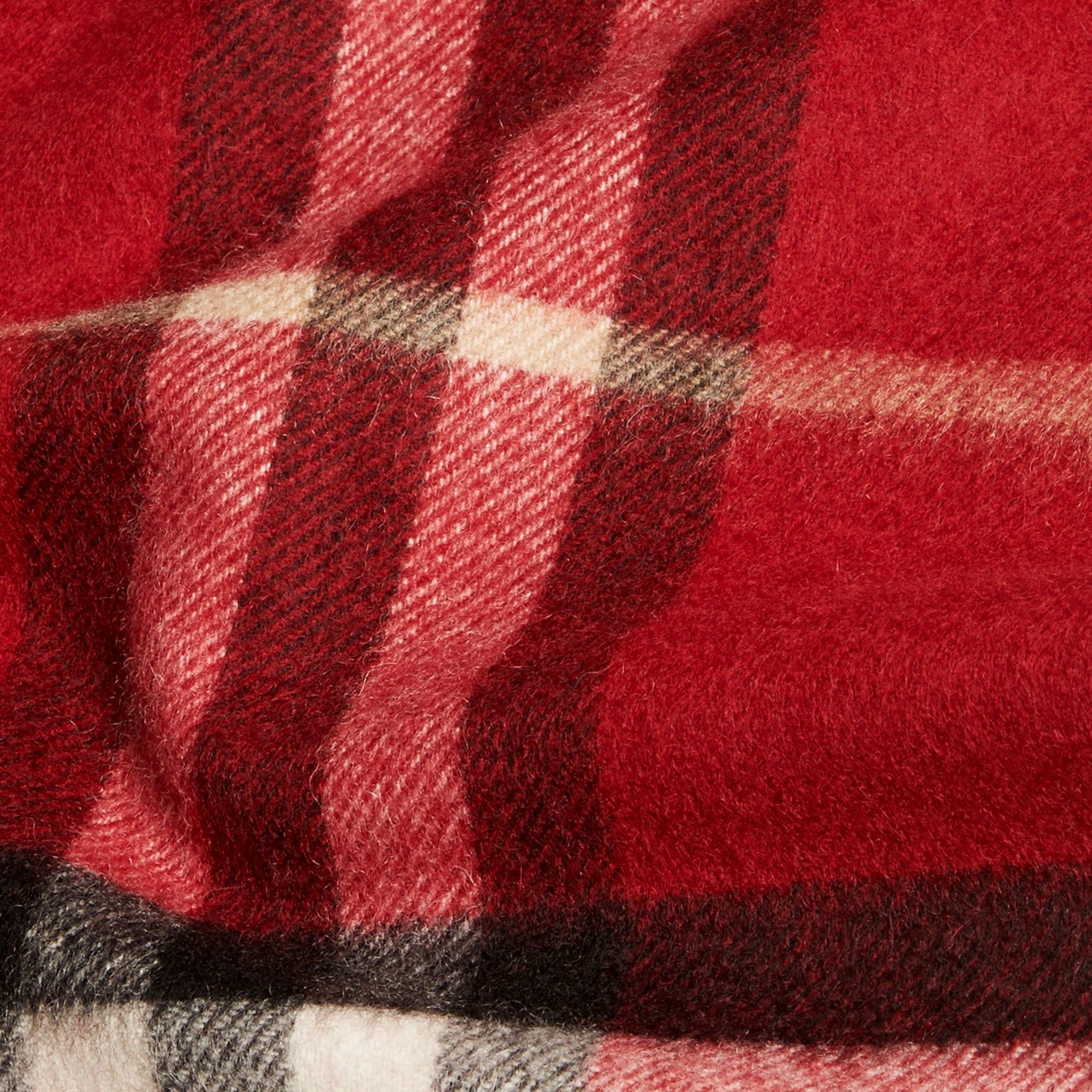 The Mini Classic Check Cashmere Scarf in Parade Red | Burberry - gallery image 4