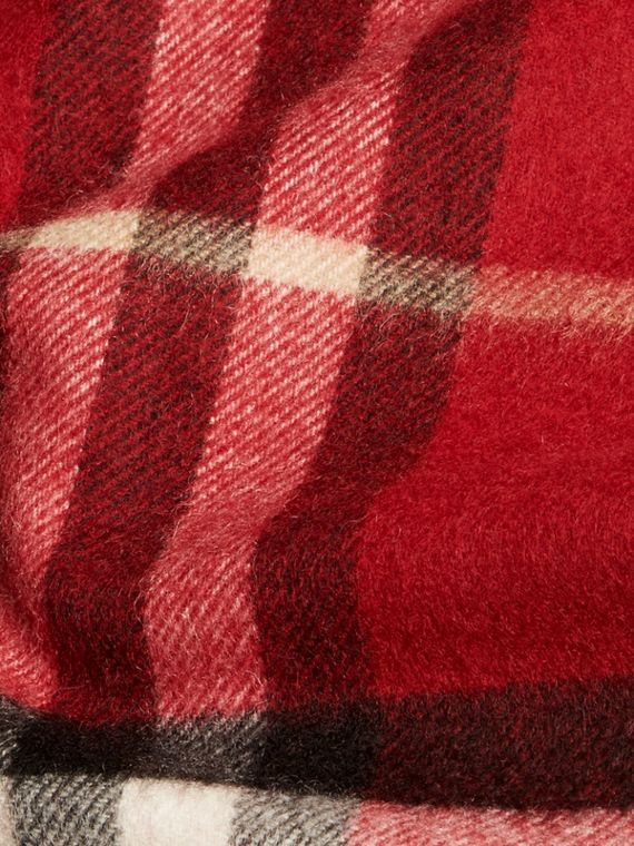 The Mini Classic Check Cashmere Scarf in Parade Red | Burberry - cell image 3