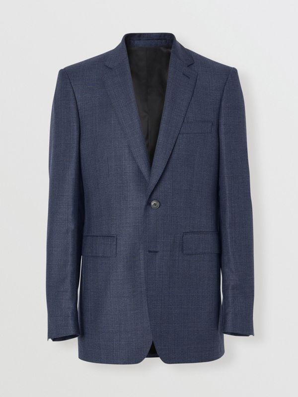Classic Fit Check Wool Three-piece Suit in Steel Blue - Men | Burberry Australia - cell image 3