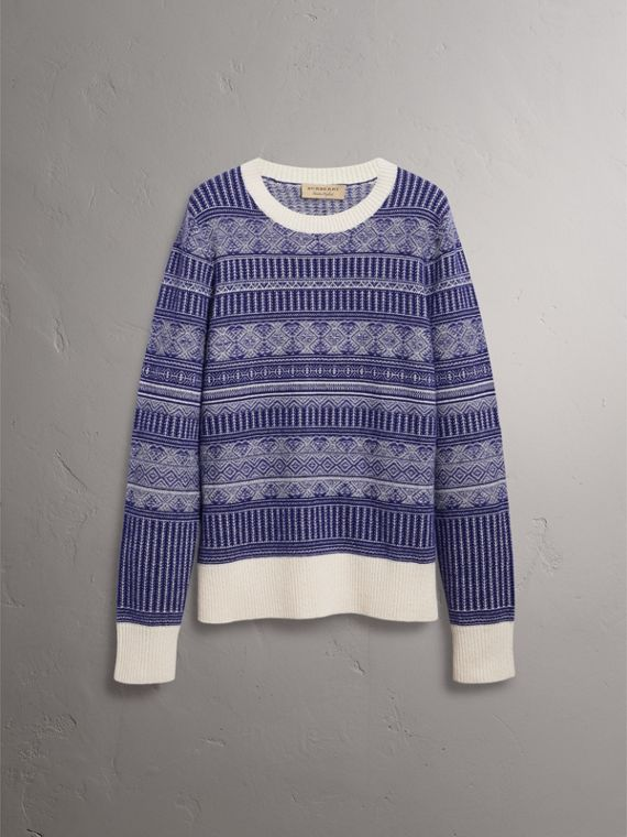Fair Isle Wool Cashmere Sweater in Bright Navy - Men | Burberry Australia - cell image 3