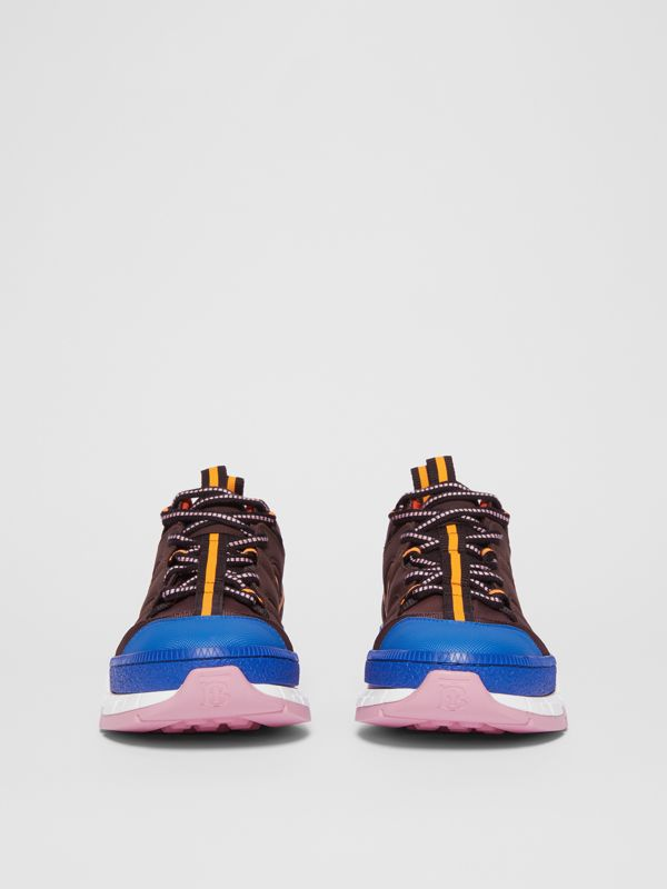 Nylon and Mesh Union Sneakers in Coffee/blue - Women | Burberry - cell image 3