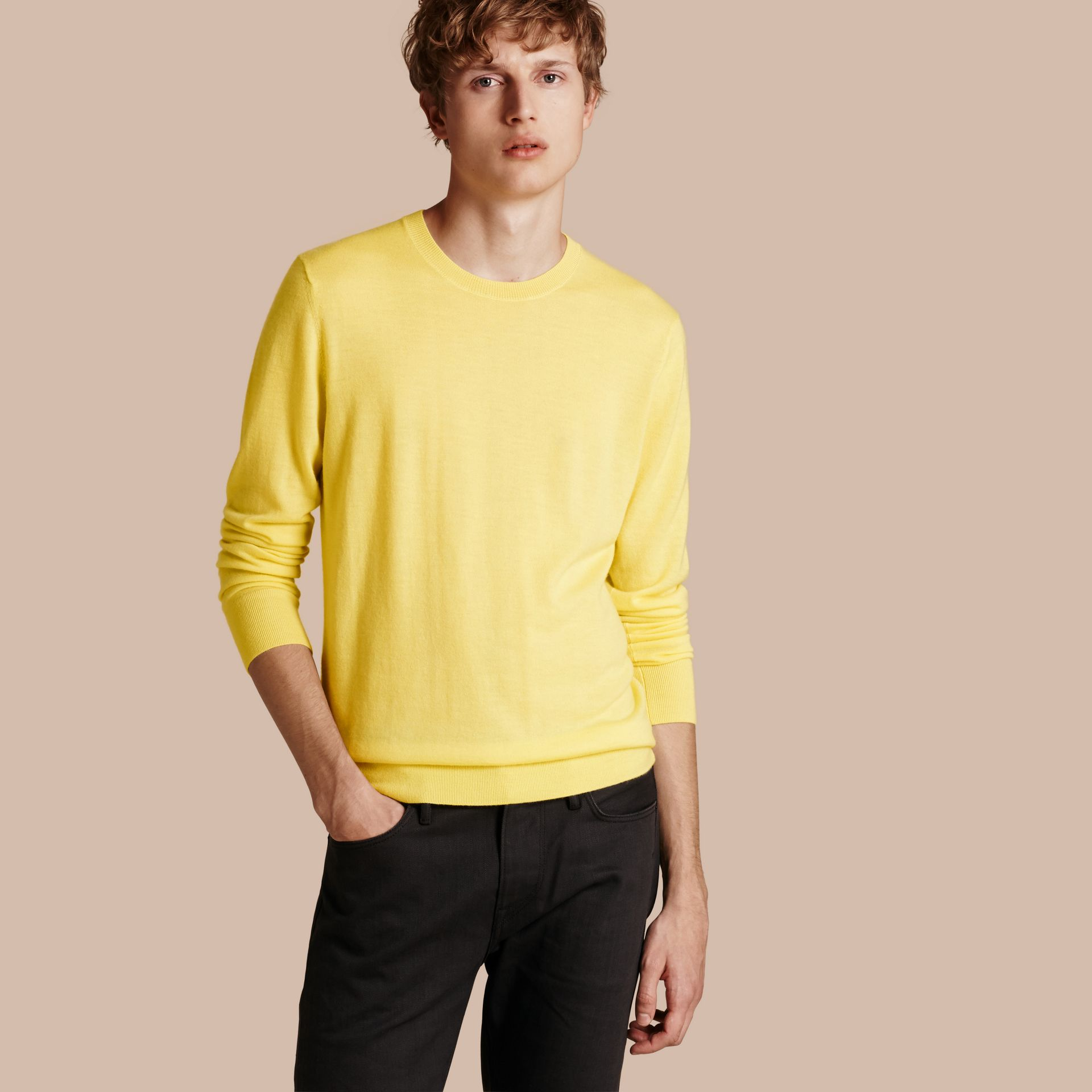Lightweight Crew Neck Cashmere Sweater with Check Trim Pale Lemon - gallery image 1