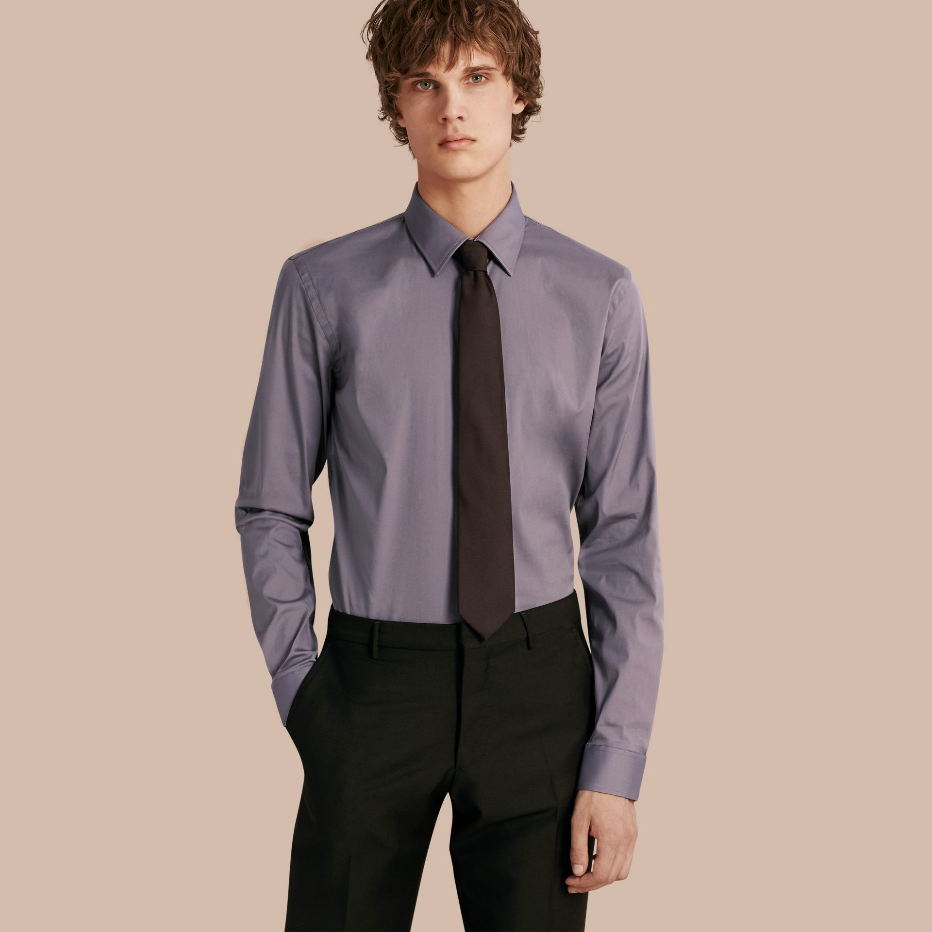 Slim Fit Stretch Cotton Shirt in City Grey - gallery image 1
