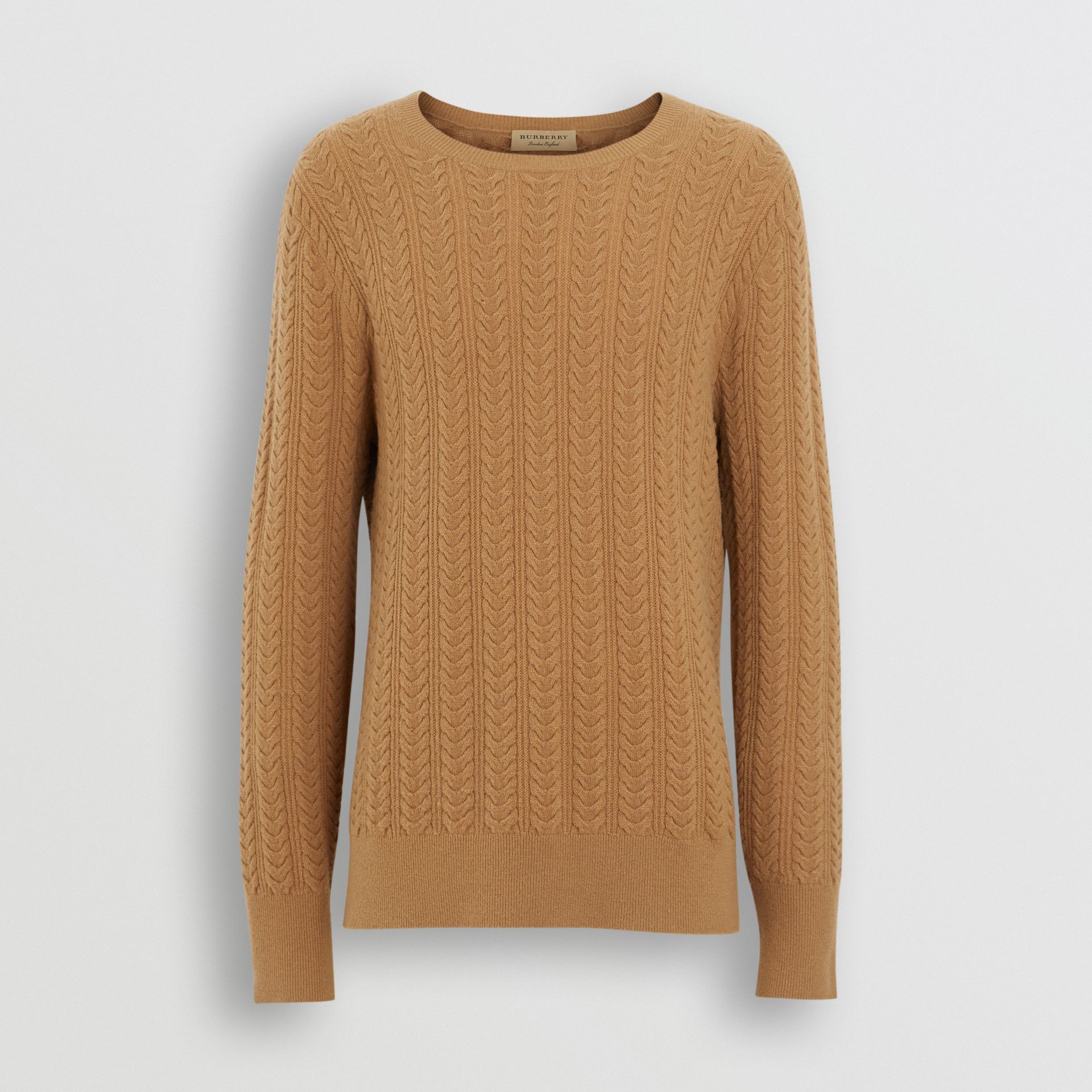 Cable Knit Cashmere Sweater in Camel - Men | Burberry United Kingdom - gallery image 3