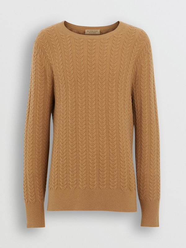 Cable Knit Cashmere Sweater in Camel - Men | Burberry - cell image 3