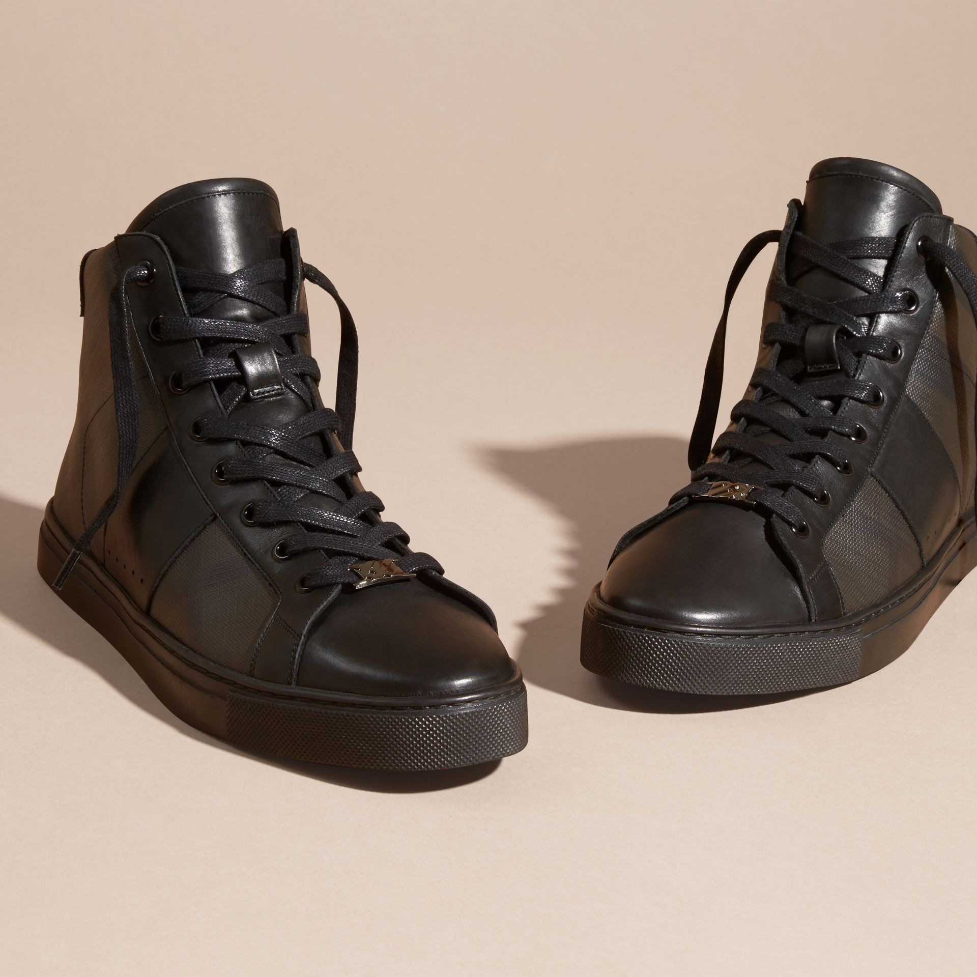 London Check and Leather High-Top Trainers in Smoked Chocolate - Men | Burberry - gallery image 3